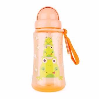 Bình uống nước nắp gập, ống hút silicon AMI 360ml màu cam