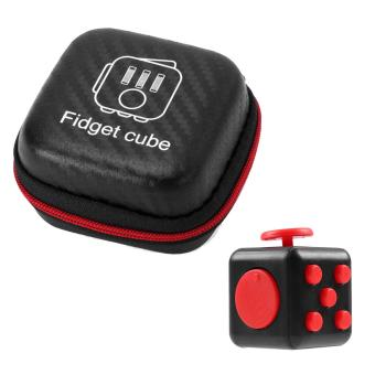 Mini Portable Fashion 1.3inches Fidget Cube Relieves Stress Anxiety 6-sides Desk Toy with Storage Bag for Children Adults Anxiety Attention Black-red - intl