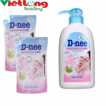 Bộ 1 chai nước rửa bình sữa D-nee 500ml + 2 túi nước rửa bình sữa D-nee x 400ml