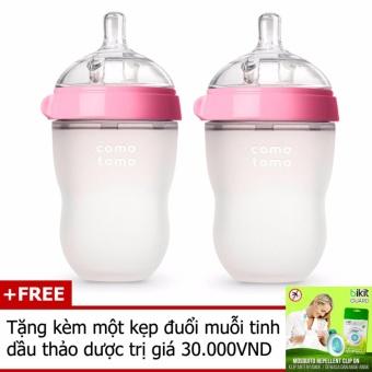 Bộ 2 bình sữa COMOTOMO Silicone 250ml (Viền hồng) + Tặng kèm một kẹp đuổi muỗi tinh dầu thảo dược