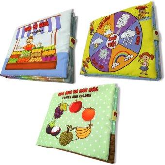 Bộ 3 sách vải cho bé chơi mà học Pipo - Hoa quả rau củ và thời tiết