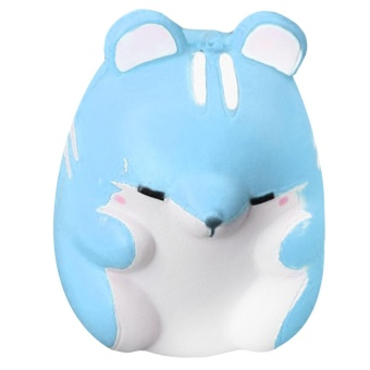 Cute Kawaii Soft Squishy Colorful Simulation Hamster Toy Slow Rising for Children Adults Relieves Stress Anxiety Home Decoration Sample Model Blue - intl