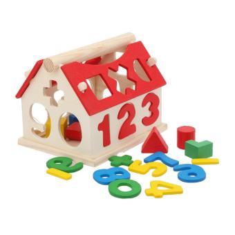 Ngôi nhà gỗ thả hình và số cho bé