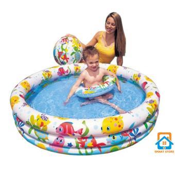 Bể bơi tròn 3 tầng kiêm Nhà bóng cho trẻ Tặng Bóng, Phao bơi (132 x 28cm)