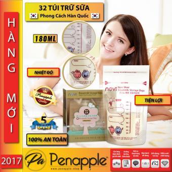 Hộp 32 túi bảo quản sữa mẹ 180 ml Sản xuất tại Hàn Quốc PEN APPLE SUPERSTORE