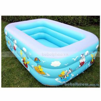 Ho boi cho tre - Bể bơi phao 3 tầng chữ nhật 130X90X50 - Chất liệu cao cấp, Bền, Đẹp - TẶNG BƠM BỂ BƠI.