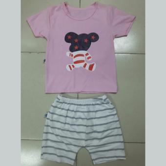 Quần áo trẻ em Bộ Mickey quần sọc cho bé (Màu hồng)