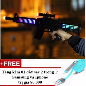 Súng người nhện có đèn, nhạc loại phổ biến nhất trên thị trường + Tặng 01 dây sạc điện thoại 2 trong 1 cho Iphone và Samsung