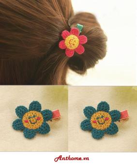 Bộ 2 kẹp tóc handmade bằng len cho bé gái hình hoa xanh KTEAH32-sl2