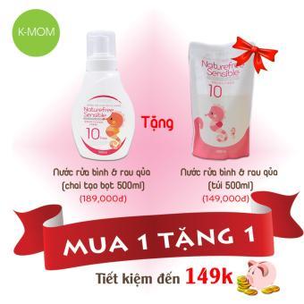Chai nước rửa bình và rau quả hữu cơ Kmom 500ml (tặng túi thay thế 500ml)