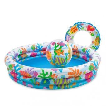 Bể bơi phao 3 tầng đại dương hình tròn kèm phao và bóng hơi cho bé