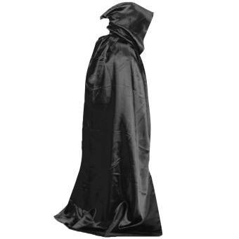 Death Devil Wicca Robe Vampire Dracula Hoody Cloak Long Tippet Cape for Halloween Costume Theater Role Play Fancy Dress Prop Black