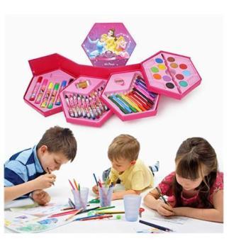 Hộp màu vẽ 46 món hình lục giác cho bé (Hồng)