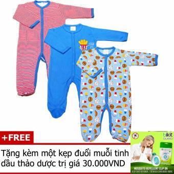 Bộ 3 áo liền quần liền tất bé trai Baby Gear (Mẫu khoai tây) + Tặng kèm một kẹp đuổi muỗi tinh dầu thảo dược