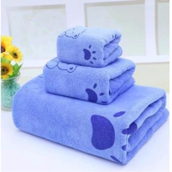 Bộ 3 khăn tắm, khăn mặt, khăn lau tóc cao cấp (xanh gấu) - (BQ246-XANHGAU)