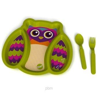 Bộ dĩa + thìa + nĩa tập ăn hình Cú OOPS (Xanh lá)