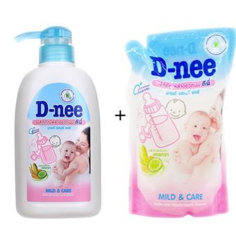 Bộ chai Nước rửa bình sữa Dnee 500ml + bịch nước rửa bình sữa Dnee 600ml