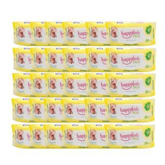 Bộ 30 gói khăn ướt mùi hương lô hội 80 tờ Happykids Nano (Vàng)