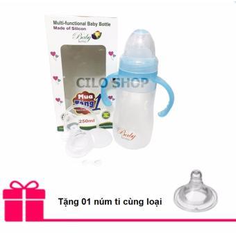 Bình sữa silicone kiêm bình thìa Baby Love 250ml có tay cầm (Xanh) + Tặng 01 núm ti cùng loại