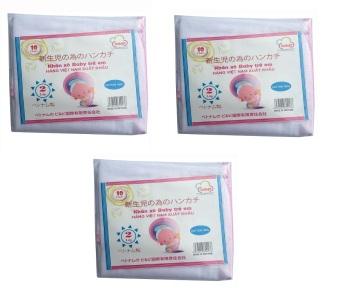 Bộ 03 Túi 10 khăn sữa 02 lớp 32x32(cm) 100% cotton