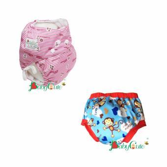 Combo 1 Bộ tã vải ngày và 1 Bộ tã vải quần short ngày BabyCute size L (14-24kg) Baby, Khỉ xanh