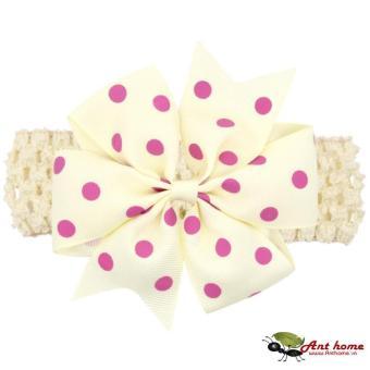 Băng đô handmade phong cách châu Âu AHBĐ5 mầu kem phụ kiện tóc cho bé thêm yêu