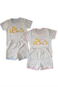 Bộ 2 quần áo cộc tay Beiner 5477 bé gái (Xanh phối hồng)