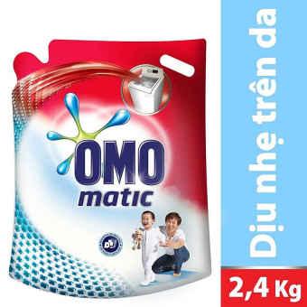 (Quà tặng không bán )Nước giặt Omo Matic Dịu Nhẹ Trên Da nhạy cảmtúi 2.4kg