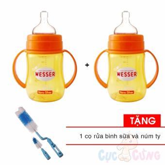 Combo 2 Bình sữa Wesser Nano Silver cổ rộng 180ml Tặng 1 cọ rửa bình sữa