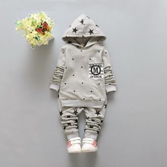 Bộ quần áo dài tay Hàn Quốc bé trai kèm nón Ntkids-133 (xám)