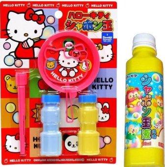 Bộ dụng cụ thổi bong bóng xà phòng và chai nước thổi bổ sung (Xanh)