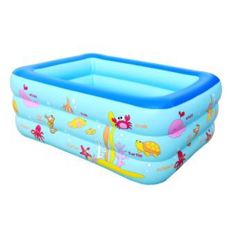 Ho boi gia dinh - Bể bơi phao 3 tầng chữ nhật 130X90X50 - Chất liệu cao cấp, Bền, Đẹp - TẶNG BƠM BỂ BƠI.