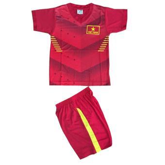 Bộ đồ thể thao em bé màu đỏ in hình đội tuyển bóng đá Việt Nam