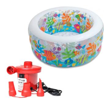 Bộ bể bơi phao tròn đại dương Intex 58480 và Bơm điện bơm bể bơi 210W