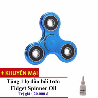 Đồ Chơi Con Quay Giúp Xả Stress Fidget Spinner Kim Loai (Xanh Navy) + Tặng Dầu Bôi Trơn Fidget Spinner Oil