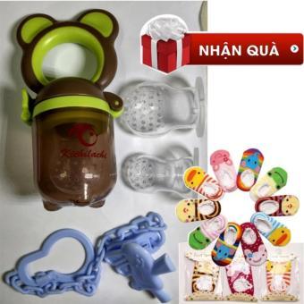 Túi nhai kichilachi hàng Việt xuất Nhật tặng 01 đôi tất chống trơn nhiều màu (Xanh phối nâu)