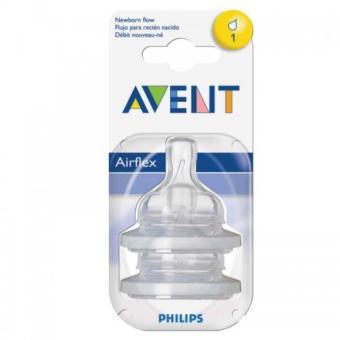 Bộ 2 chiếc núm ty thay thế Avent Silicone dành cho trẻ sơ sinh - 1 lỗ
