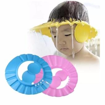 Bộ 2 Mũ gội đầu chăn nước có vành tai cho bé (Hồng xanh)