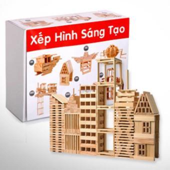 Bộ đồ chơi bằng gỗ xếp hình 102 thanh mẫu mới 2017