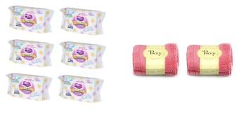 Bộ 6 gói khăn giấy ướt Merries hộp 54 miếng và 2 khăn mặt Poemy 20 x 21cm (Đỏ)