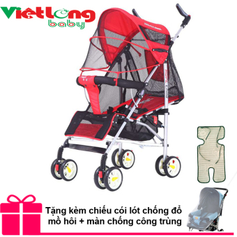 Xe đẩy lưới trẻ em cao cấp Hope HP 308 (Đỏ) + Tặng 01 màn chống côn trùng và 01 chiếu cói mát ngăn đổ mồ hôi cho bé