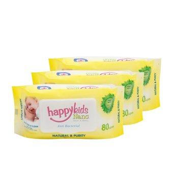 Bộ 3 gói khăn ướt mùi hương lô hội 80 tờ Happykids Nano (Vàng)(Vàng)