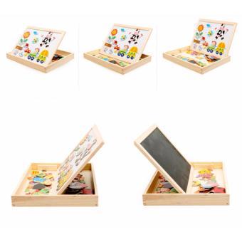Bảng gỗ đồ chơi nam châm ghép hình 2 mặt