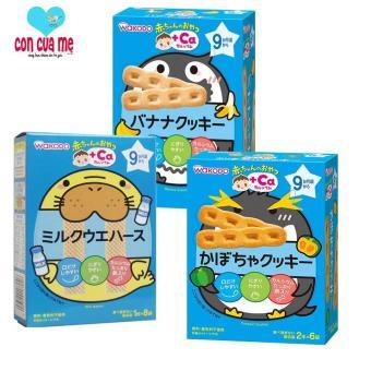 Bộ 3 hộp bánh ăn dặm Wakodo bổ sung Canxi vị chuối, sữa, bí ngô cho bé 9m+