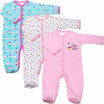 Bộ 3 áo liền quần liền vớ bé gái từ 3 đến 12 tháng Baby Gear (Mẫu cây kem)