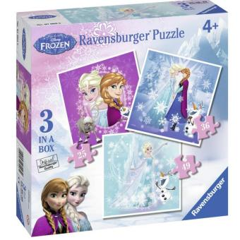 Bộ 3 xếp hình Công chúa Frozen Anna và Elsa 25/ 36/ 49 mảnh - Ravensburger 7003