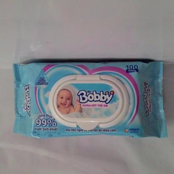 3 gói khăn ướt trẻ em đa năng Bobby 100 tờ không mùi hương màu xanh(Xanh ngọc)