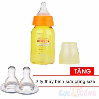 Combo Bình sữa Wesser Nano Silver cổ thường 140ml Tặng 2 ty cùng size