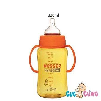Bình sữa Wesser cổ rộng 320ml (Vàng)