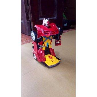Xe Ô tô biến hình thành Robot chạy pin, phát nhạc ( Đỏ phối đen) + Tặng kèm 3 quả pin